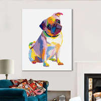abstract dog paintings - Handpainted Animal Modern Art For Home Decor High Quality New Home Abstract Lovely Dog Oil Paintings on Canvas Hang Pictures