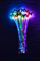 Wholesale Colorful Butterfly Luminous Braids Flash Night Lights Braid Luminous Light Up LED Hair Extension Party Hair Glow By Fiber