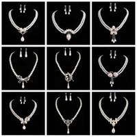 Fashion Pearl 925 Argent Cristal Rhinestone CZ Collier Boucles D'oreilles Ensemble Mariage Accessoires Bridal Jewelry Set Livraison gratuite 1433