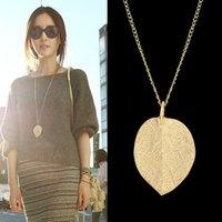 venda por atacado cheap costume jewelry-Bijuteria barato Design do Colar Pingente Cor Alloy Gold Leaf 2015 Novo Para Mulheres