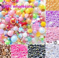 ab crafts - OMH AB Color Mixed Size from mm Craft Flatback Half Round Pearls Flatback Scrapbook Beads ZL674