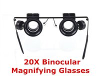 Wholesale Mini x Binocular Magnifying Glasses Resin Lens Loupe Magnifier Adjustable LED Light For Jewelry Watch Repairing Coin Stamp