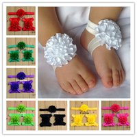 fabric tulle - Fashion Baby Girls Barefoot Socks Sandals and headband Set Shoes Kids Tulle Foot Ornaments Child Infant Flower Socks set