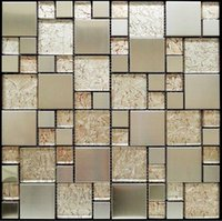 Wholesale GM01 Gold foil stainless steel counter puzzle crystal quality wall stickers tile mosaic