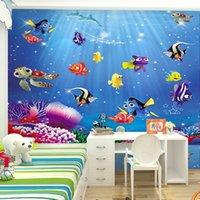 aquarium wallpaper - D cartoon children s room bedroom wallpaper wallpaper mural Aquarium Underwater World Custom Size