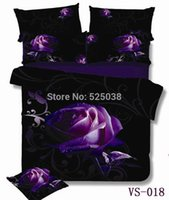 Wholesale 6 Pieces per set Absolutely Beautiful Purple Rose and Print D Bedding Set very New