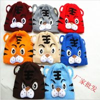 Wholesale 2013 new arrival Baby Hat boy Cartoon Tiger Hat Children s Knitted Warm Hat Girl Crochet Cap
