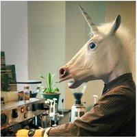 Wholesale On sales Halloween Christmas Costume Creepy Unicorn Horse Mask Head Theater Prop Novelty Latex Rubber