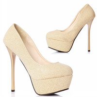 Cheap Platform Pumps with Thick Soles Gold Wedding Shoes with High Heels Round-Toe High-heeled Shoes Red Bottom Women's Shoes Prom Evening Shoes