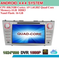 Cheap 1024*600 HD Screen Android 4.4.4 Quad Core 2 Din Head Unit Car DVD Radio GPS RDS BT Phonebook DVR OBD Mirror Link For Toyota Camry 2007-2011
