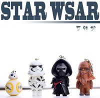 Wholesale 2016 NEW Star Wars Keychain Cartoon StarWars key ring KaiLuoLun Chewbacca BB Stromtrooper rotating key chain gift for DHL