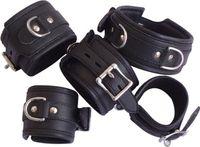 bondage neck wrist restraint - Leather Bondage Neck Collar Ring Wrist Ankle Restraints Handcuff Anklecuff SM443