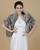faux fur bridal cape - Ravishing Gray Imitation fur bridal wrap shrug stole shawl Cape Wedding Jacket Bolero Bridal Coats