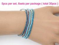 Wholesale Fashion Jewelry Bracelets Summer Hot sale Bracelets Korean Style Aqua Rhinestone Crystal Bracelets