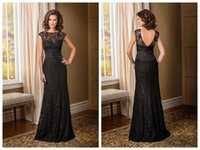 blue green jade - 2016 Mother Of The Bride Dresses Bateau Capped Black Lace Sleeveledd Zipper Backless Evening Dresses Sweep Length Jade Couture K178010