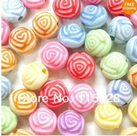 Wholesale Tiny Plastic Round Rose Flower Shape Beads Assorted MM For Jewelry Making