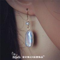 14 karat gold - Designer AN original Baroque square natural pearl earrings long repair face karat gold package mail