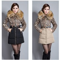 winter jackets for women - New Arrival Winter Jacket Down Coat Plus Size Fashion Big Fur Colloar Leopard Print Outerwear Long Coat Winter Jackets For Women