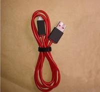 achat en gros de câble rouge casque-Micro Câble USB pour le câble de remplacement d'extension Beats Pill Wireless Speaker SOLO récents 300pcs V2 Casque Studio Red