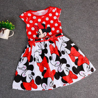 TuTu Summer Pleated 2015 Hot Kids Clothing Baby Girls Dress Dot Mickey Mouse Minnie Dress Baby Clothes Kids clothing Lovely Color