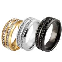 Bijoux Bague Fashion Sz17-21 Noir Or Argent CZ strass en acier inoxydable 30pcs beaucoup Bague Hommes Femmes Titanium Wedding Band Engagement