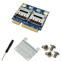 Wholesale SMAKN Dual TF Micro SD Card to Mini PCI E Express with half Bracket Memory Card Reader Adapter