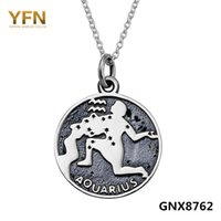 ancient greece jewelry - GNX8762 Vintage Jewelry Ancient Greece Aquarius Necklace Sterling Silver Constellation Necklace Engraved Charms inches