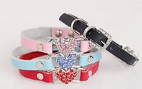 Wholesale Personalized Leather Pet Collars Diamond Peach Heart Rhinestone Dog Collar Buckle Creative Stitching Dog Chain Leash HCN027