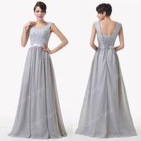 flower dress - Grace Karin Beaded Grey Lace Flower Full Length Evening Cocktail Dresses Sleeveless Backless Size US CL6231