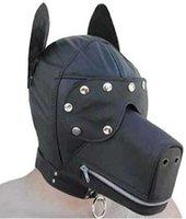Wholesale Ultimate Leather Dog Hood Adult Face Mask Fetish Fantasy Sex Slave Set Cosplay sex toys