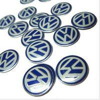 Wholesale 500pcs Lowest mm alluminum VW key fob badge emblem remote logo BLUE black volkswagen Jetta