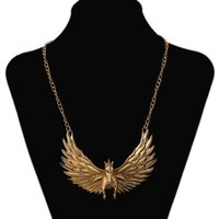 Wholesale 2015 Fashion women big gold vintage egyptian primitive tribal fly horse wing chunky collar pendent necklace unique