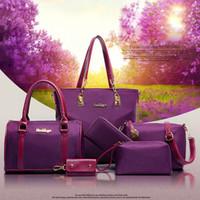Wholesale 6PCS set Fashion Handbags Woman Bags Designers Purses Card Key Case Ladies Handbags Totes with Shoulder Plain Zipper Closure