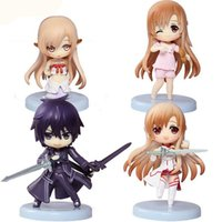 Wholesale cute set Hot Anime Sword Art Online Q version SAO Krito Asuna Figure PVC Toys mini Doll with paper Box order lt no track