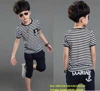 Wholesale Baby Boys Summer Clothes Sets New Fashion Marine Striped Pajama Shorts T shirts and pants Children Kids Clothing Set