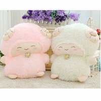 bell sheep - cm Alpaca Plush Soft Toys Kawaii Alpacasso White Yellow Pink Purple Color With a Small Bell Giant Plush Animals Sheep T15277
