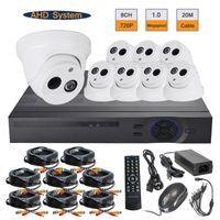 al por mayor cctv cámara domo 8ch sistemas-720P AHD 1.0MP Cámara Dome Interior 8CH AHD DVR Híbrido Sistema de Seguridad CCTV