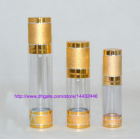 Wholesale 50pcs ML round airless bottle with PP treatment pump Bottle cosmetic empty container makeup container Golden Color