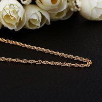Collier en or pour les hommes 1.5MM 26inches 18K / Rose / or blanc plaqué cordon torsadé lien chaîne de homard fermoir charme collier bijoux