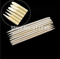 Wholesale 100pcs Nail Art Orange Wood Stick Cuticle Pusher Remover for nail art care Manicures nail tools