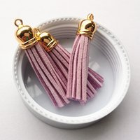 Wholesale Light Purple Color MM Gold Caps Suede Cord Tassels DIY Jewelry Macrame Material for Phone Chain Keyring