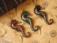 beautiful seahorse - 10pcs very beautiful antique bronze seahorse necklace