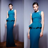 Cheap 2016 New Arrive Zuhair Murad Elegant Blue Evening Dresses Jewel Neck and Ruffles Beautiful Sleeveless Beaded Prom Gown