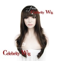 Wholesale Halloween Special Wigs Extra Long Straight inch Dark Brown Beauty Sexy Synthetic Lace Front Wig Party Wig Cosplay N10