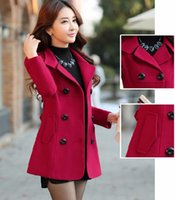 Wholesale 2015 Fall Winter Womens Double breasted Button Lapel Pocket Multicolor Big Yards Long Sleeves Mother Wool Coat Ladies Winter Coats OXL082205