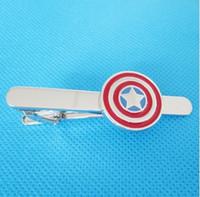 Wholesale wish_team Captain America Superhero Shield Tie Clip Silver Blk Wedding Bar Clasp Factory Price Best Gift W374