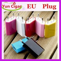 Wholesale 5V A mAh EU US Plug USB Power Travel Adapter AC Wall Charger For iPhone S S Samsung HTC Cell Phone Colorful