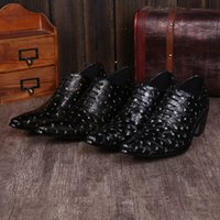 beading business - new genuine cowskin leather qshoes shoes mens business dress comfort men fashion Height increasing luxury pointed toe shoe sl209