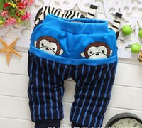 animal crossing monkey - Autumn winter new boy fashion PP pants years little monkey cartoon baby warm pants elastic Comfortable pants child A21