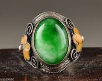 Wholesale Chinese Old Handwork Tibet silver Jade Flower Noble Ring Adjustable